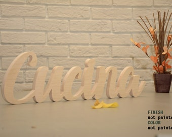 NOT PAINTED Cucina wood sign, perfect kitchen decoration, script letters, wall hanging