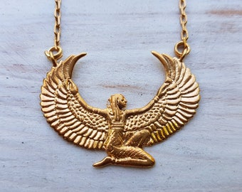 Gold Isis Necklace - Small - Egyptian Goddess - Isis Collection - Ancient Egyptian Artifact - Feather Tribe