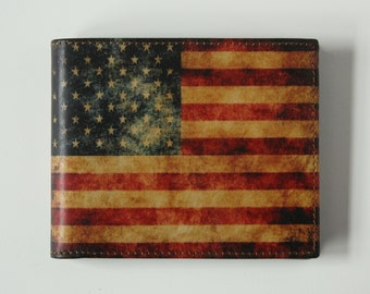 Men's Leather Wallet American Flag Wallet US Flag Wallet Red Wallet Leather Bill Fold Stars and Stripes Slim Credit Card holder Made in USA