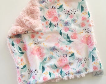 Blush pink Floral lovey security blanket 16 inches x 16 inches, minky, floral nursery, girl baby shower gift, toddler security blanket, gift