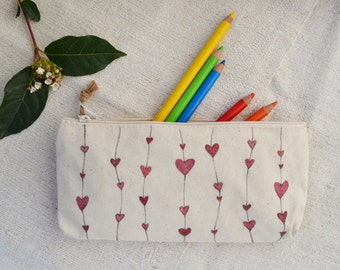 Hand painted cotton pouch with hearts