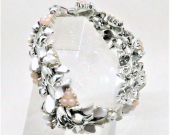 Floral Bracelet - Vintage, Coro Pegasus Signed, Silver Tone, White Enamel, White and Pink Beading, Fold Over Clasp