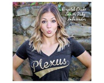 Plexus Glitter Script V-Neck Tee  20276312215Jg