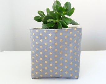 Grey storage basket, Gold dots, Fabric bin gray, Bathroom storage, Nappy caddy, Home organize, Planter cover, Knitting basket, Metallic
