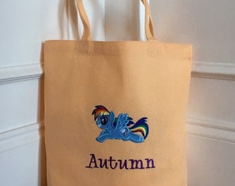 Personalized Rainbow Dash, My Little Pony Bag / Tote / Trick or Treat Bag