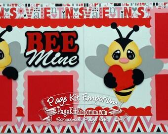 Scrapbook Page Kit Valentine Bee Mine Boy Girl Baby 2 page Scrapbook Layout 024