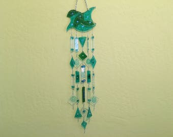 Wind Chime - 5 strand, fused glass