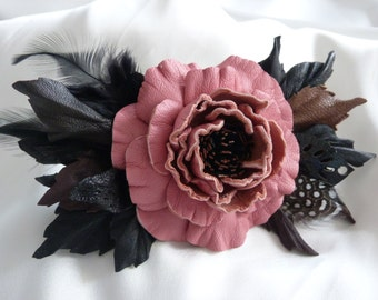 Leather flower  hair clip, hair barrette, leather rose hair clip
