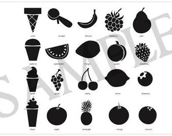 20 Silhouette Fruits Digital Clipart, Ice Cream Digital Clipart, instant download, fruits, ice cream, water ice, png, bland and white