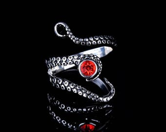 Tentacle Ring with Red Crystal  / Octopus Ring /  Kraken Ring /  Adjustable Tentacle Ring / Nautical Ring