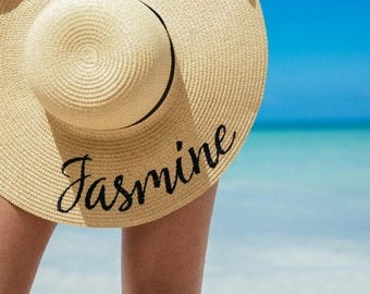 """CUSTOM """"YOUR NAME"""" 5 inch brim embroidered floppy beach hat, honeymoon, bachelorette party, girls weekend"""