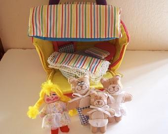 Goldilocks & The Three Bears Soft Dollhouse Playhouse Playset by Kubla Crafts 1989