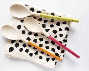 Painted Wooden Spoon in Tangerine / Raspberry / Lime - Bright Kitchen Utensils - Cookware - Gifts for Cooks