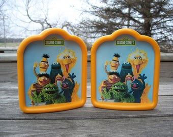 Vintage Sesame Street bookends || Bert & Ernie || bookends for kids || vintage kids room decor || yellow book ends || childrens bookends