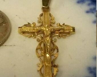 "1 1/4"" Estate 14k Yellow Gold Cross Christ Pendant Charm Baptism Catholic Lutheran 1"" H593"