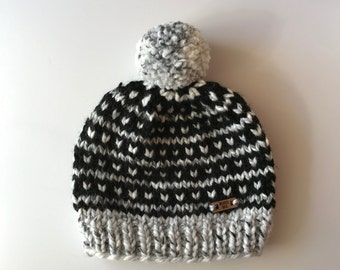 DOT & STRIPES // Marble + Black adult slouchy hat with pom