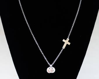Christian necklace Sterling Silver Necklace Personalized Sideways Cross Initials necklace, Baptism Confirmation gift necklace