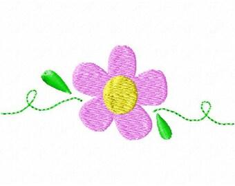 Machine Embroidery Flower Scroll Single Design