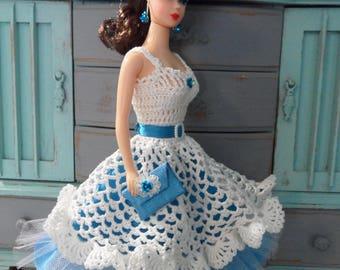 "Handmade Barbie Clothes OOAK Crochet Barbie Dress Set 11.5"" Fashion Doll Clothes Sea Blue & White Collectible Barbie Clothing 50s Prom Dress"