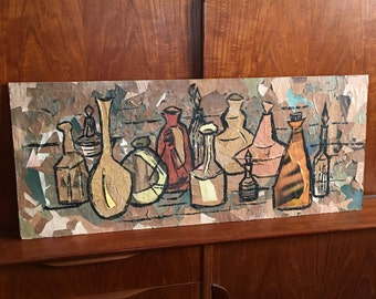 Original abstract painting collage, Mid Century Modern Artist, Still life of weed pots