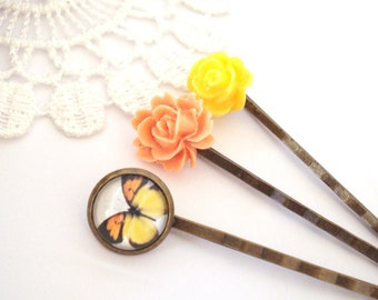 Tropical Hair Pins, Bright Yellow Rose, Summer Hair Pins, Butterfly Hair Pin, Floral Hair Accessories, Gift for Her