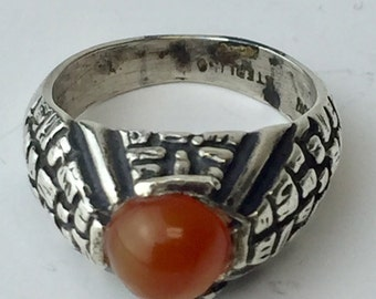 Sterling Silver and Carnelian Textured Dome Ring Vintage 1980's Size 6.5