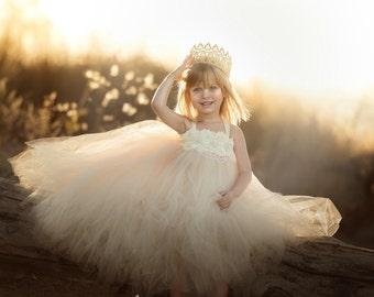 Champagne Flower Girl Dress, Champagne Tutu Dress, Champagne Tulle Dress, Champagne Dress, Champagne Wedding, Champagne