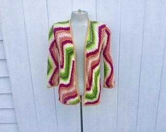 Sale: 1970s Missoni Crocheted Open Weave Cardigan Size 40