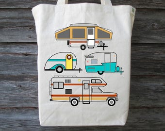 Camping Tote, Vintage Camper Tote, Cotton Tote, Camping Gift, Teardrop Trailer, Tent Trailer, Motor Home, Travel Trailer,