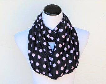 Navy blue and pink scarf infinity scarf dark blue pink polka dot scarf loop scarf Mother's day birthday gift for women and teen girls