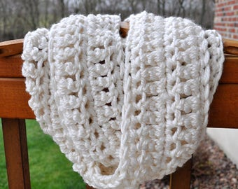 FREE SHIPPING-Beautiful Crochet Infinity Scarf- Antique White-Ultra Soft Yarn- Made With TWO Strands of Yarn for an Extra Thick Scarf