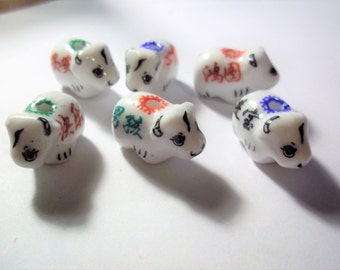 Porcelain Animal Cow Beads, Assorted, Approx. 20mm x 13mm, Lot of Six (6)