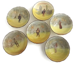 6 Royal Doulton bowls, Shakespeare series, each bowl different, Hamlet, Ophelia, Romeo, Anne Page, Orlando, Falstaff, 1930s
