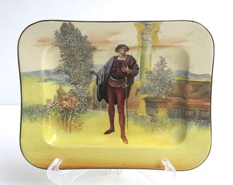 Antique Royal Doulton display plate, Romeo plate from the Shakespeare series, hand painted illustration, lovely colors, England, 1920s