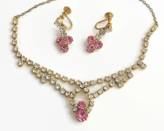 Rhinestone necklace and earrings set, clear and pink rhinestones, screw back earrings, gold plated setting, circa 1950s