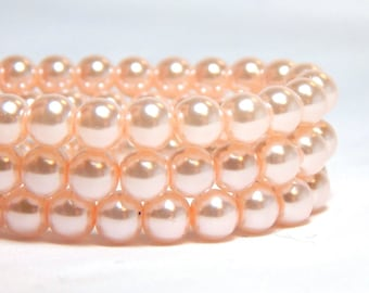 6mm Light Pink Glass Pearls, 6mm Pink Beads, Pale Pink Pearls, Pink Pearls,  Pink Glass Pearls, Light Pink Pearls, Glass Pearls, T-94B