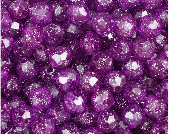 BeadTin Lilac Purple Sparkle 8mm Faceted Round Plastic Craft Beads (450pcs)