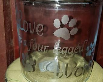 Personalized Dog Treat Jar, Glass Dog Treat Jar, Dog Accessories, Dog Feeding Accessories