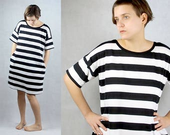 Tricot Dress With Pockets and stripes black and white women's clothing T shirt dress 100% Cotton