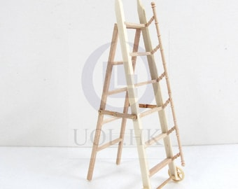 1:12 Scale Doll House Miniature library ladder  [ Finished in dark walnut]