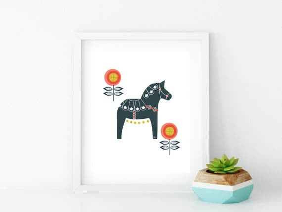 Dala Horse, Printable, Floral Dala Horse Print, Art Print, Wall Art, Wall Decor, Nursery Wall Art, Swedish Horse, Navy, Red Orange, Gold