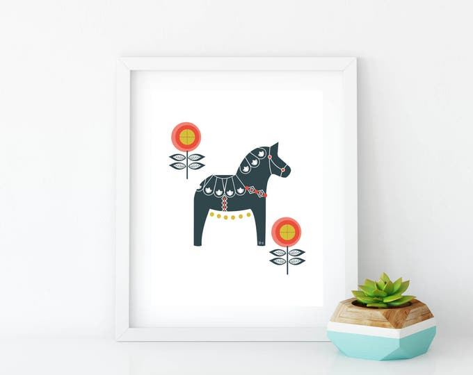 Navy and Orange Floral Dala Horse Art Print, Instant Digital Download