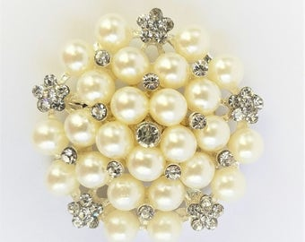 Pearl and rhinestone brooch - White pearl brooch - DIY bouquet brooch - DIY supply -