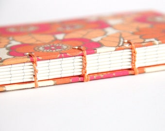 Journal Diary, Notebook, Small Journal, Lined Paper, Writing Book, Handbound Book, Retro Flowers, Orange Flowers, Coptic Stich, Lay Flat