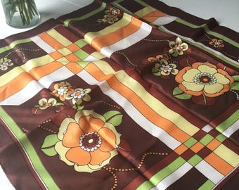 Vintage, Square, Flower and Geometric Shapes 60s Scarf.