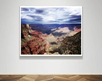 Photograph - Grand Canyon on the South Rim with Cloud Cover Fine Art Photography Print Wall Art Home Decor