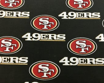 "SAN FRANCISCO 49ers nfl 60"" Cotton Fabric By The Yard All Over Black Print Fabric Traditions"