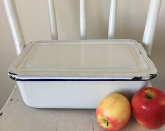 Vintage White Enamel Covered Dish, French Enamelware, Enamel Refrigerator Dish, Blue and White Enamelware, Casserole Dish, Oblong Dish