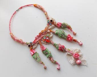Textile Necklace, Wearable Art Jewelry, Fabric Necklace, Pink Green Necklace, Gypsy Ethnic Necklace, Boho Necklace, Mixed Media Art Jewelry