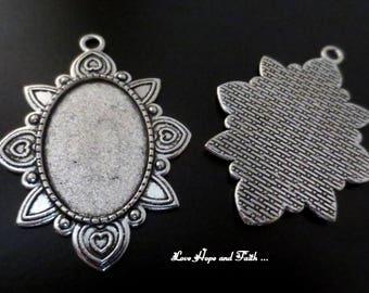 New! cabochon setting silver (52x37x2mm) (cod.50206C)